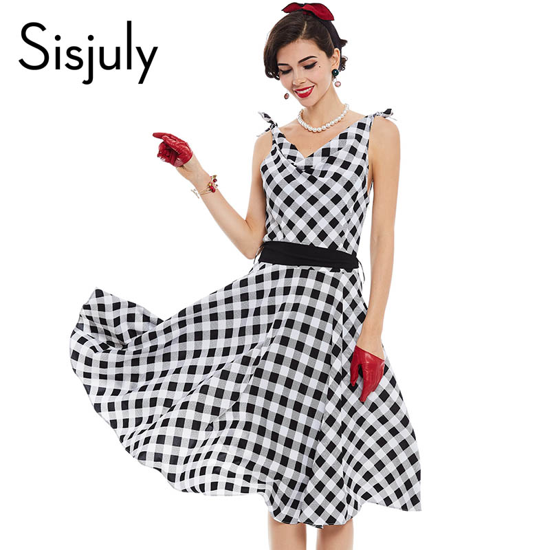 Sisjuly women vintage dress 1950s pin up style retro plaid patchwork dress summer sashes sleeveless v neck party vintage dresses