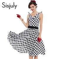 Sisjuly vestito delle donne dell annata 1950 s pin up stile retrò plaid  rappezzatura di bb8788a0f6f