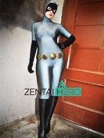 Darmowa Wysyłka DHL Hurtownie Dorosłych Sexy Szary I Czarny Kot Kobiety Elastan Superhero Zentai Catsuit Halloween Cosplay Costume