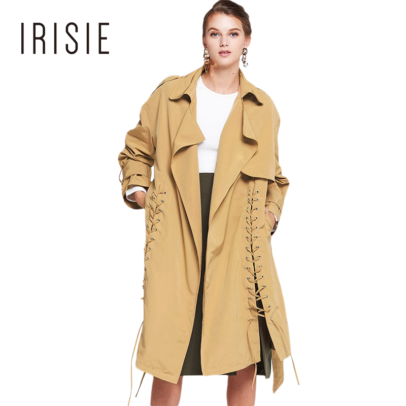 IRISIE Brand Autumn Beige Lace-Up Women Trench Coat Turn-down Collar Long Sleeve Female Coat Belted Waist Fashion Casual Outwear