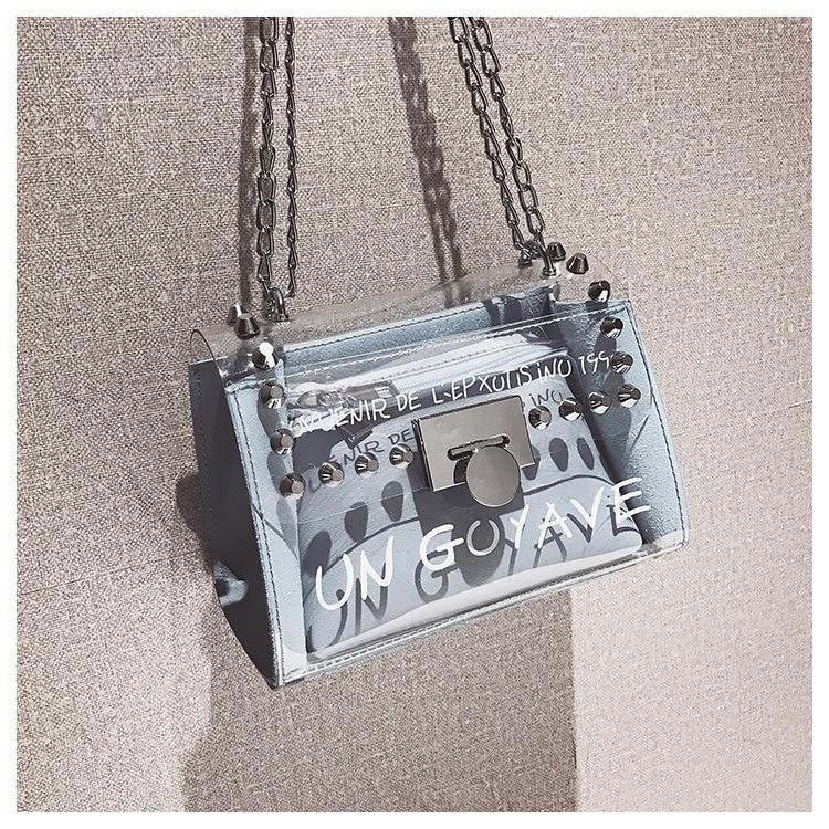18 Summer Fashion New Handbag High quality PVC Transparent Women bag Sweet Printed Letter Square Phone bag Chain Shoulder bag 17
