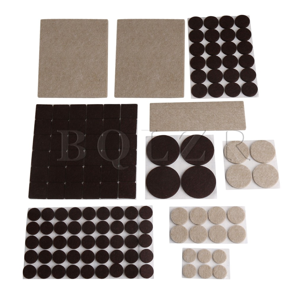 133x BQLZR Apricot & Brown Square Round Felt Furniture Pads Anti-skid Floor Scratch Protector Self Adhesive 9 Size for Chair
