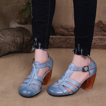 2017 Women Sandals Chunky Heels Cut Outs Round Toe Genuine Leather Gladiator Sandals High Heels