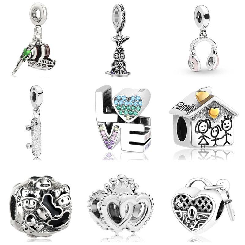925 Sterling Silver Swan Monkey Ride Friendship Bead for European Charm Bracelet