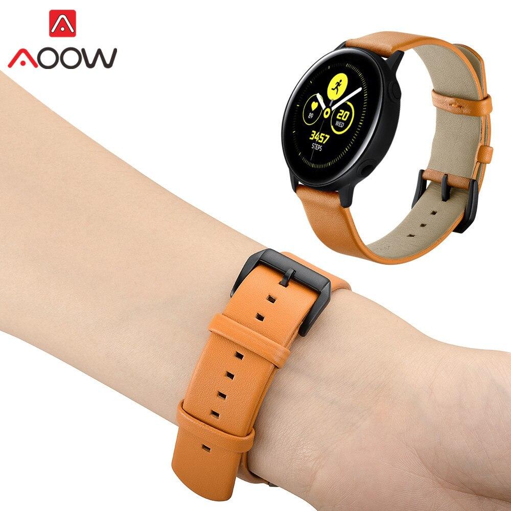 20mm Genuine Leather Strap For Samsung Galaxy Watch Active 42mm Gear Sport S2 Classic Amazfit Garmin Vivoactive 3 Bracelet Band