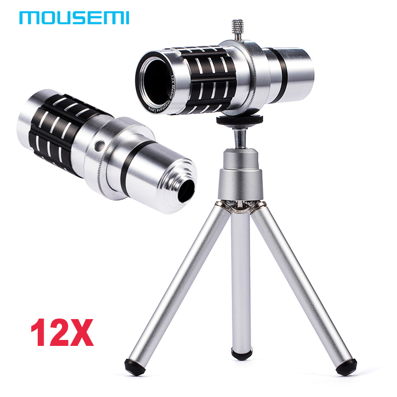 imágenes para Universal clip de teleobjetivo de 12x óptico del telescopio del zumbido del teléfono móvil de la cámara con trípode para el iphone htc huawei sumgung lentes