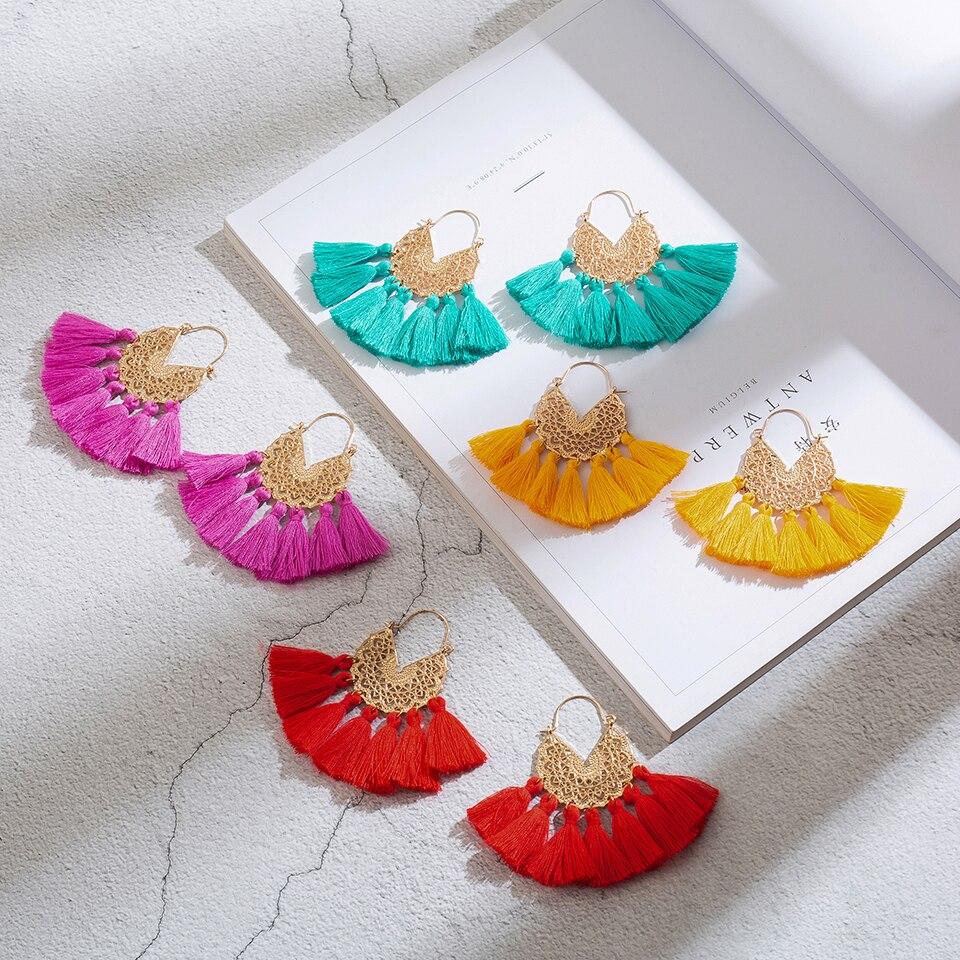Luxury Golden Boho Bohemian Triangle Dangle Drop Tassel Earrings For Women Female Ethnic Wedding Earrings Jewelry Accessories