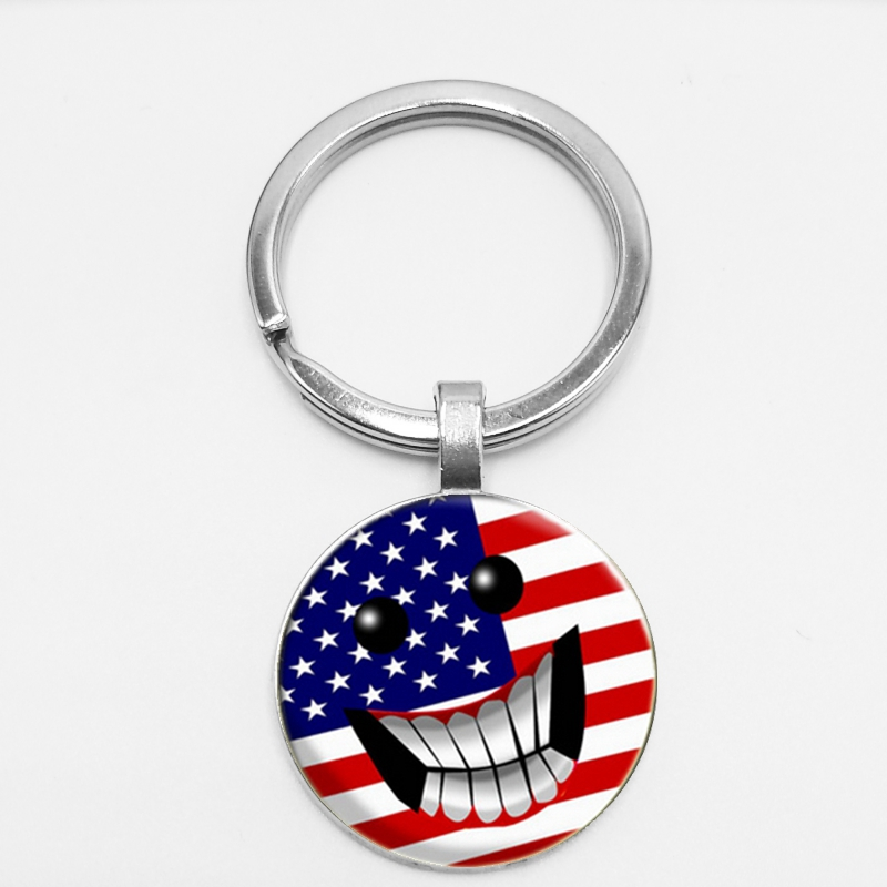 Cute Expression American Flag Time Glass Jewel Keychain Expression Car Key Hang Buckle To Map Private Letter in Key Chains from Jewelry Accessories