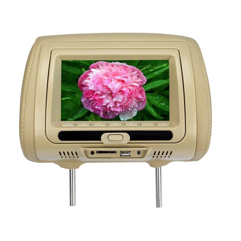 7 inch Car Headrest DVD Player TFT LED Display Auto Headrest Monitor Touch Button AV USB SD DVD MP5 Game FM IR DC 12V SH7828DVD