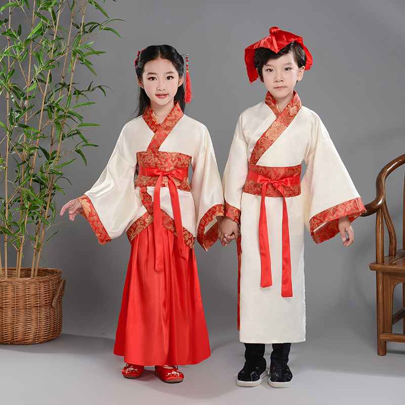 Red Children Chinese Hanfu Confucius School Recited Three-Character Costume Folk Dress School Wear For Boys And Girls BL1181