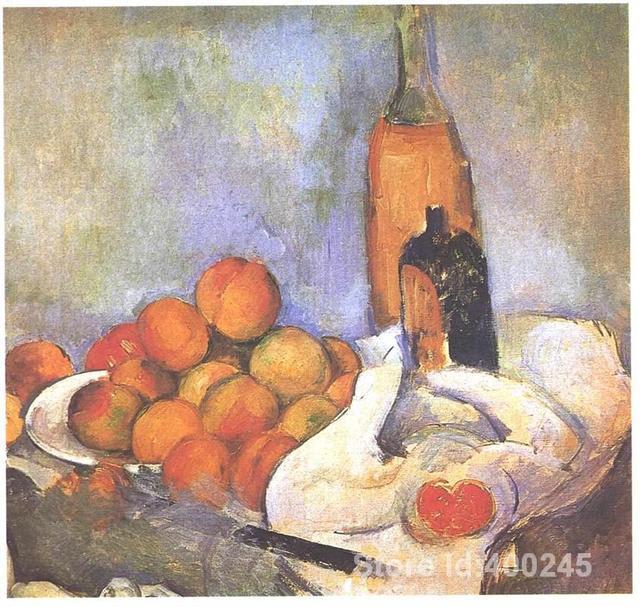 Meyve şişeleri ve elma Paul Cezanne sanat eserleri ile boyama natürmort El boyalı Yüksek kaliteli