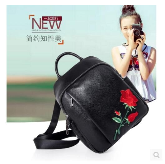 Designe Women's Backpacks Genuine Leather Female Schoolbag Girls Large Capacity Shoulder Travel First Layer Leather Embroidery kundui fashion designe women backpack genuine leather female backpacks schoolbag girls large capacity shoulder travel book bag