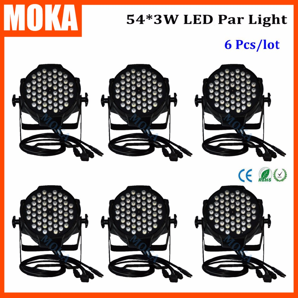 6PCS/LOT 54*3W Par Led Light Led Disco Stage Lighting Effect DMX Par for Disco DJ Club Party Stage Show 3w rgb led dj stage light auto rotating projector disco club ball lamp party show dmx lighting effect battery powered page 7