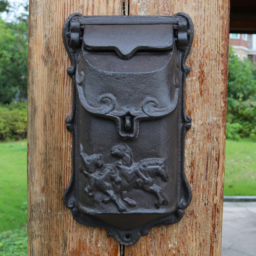 European Style Rustic Cast iron Crafts Mail Box Mailbox Metal Letter Box Wall Mounted Postbox Home Garden Yard Supplies