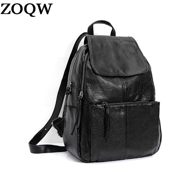 2017 New Arrival Women Backpack Medium Size Soft Leather Backpacks S Daily Casual Bag Travel Bags