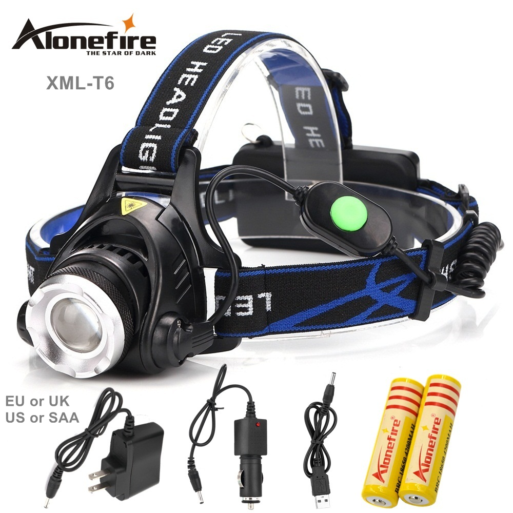 AloneFire HP88 3Modes CREE XML T6 2000LM LED Headlamp Rechargeable Headlight Head Lamp Spotlight For Fishing+Charger+18650 фонарик oem xml t6 cree 2000lm lanttern 201451602