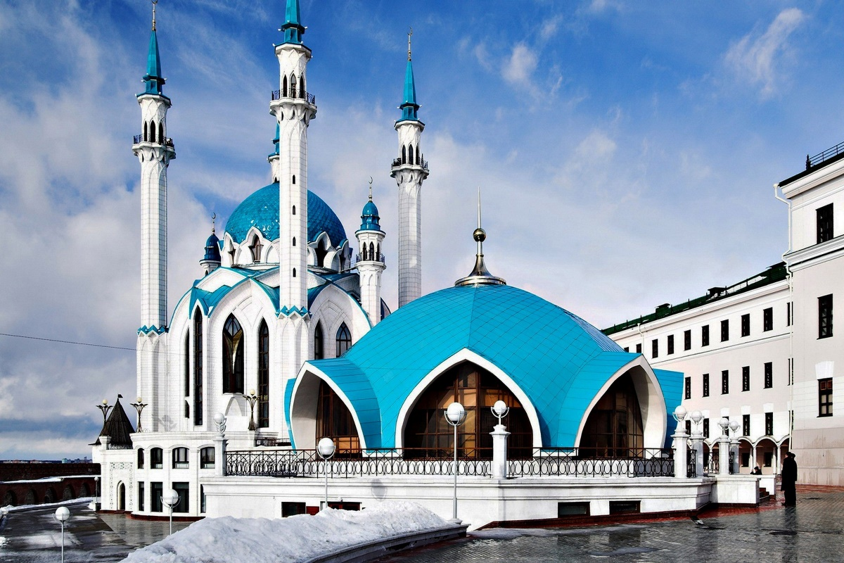 Architecture russia mosque blue white building landscape ...