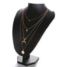 1pc Girl retro three-layer necklace moon round piece metal pendant boho stratified sweater chain girl dress accessories boutique