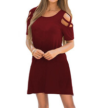 Womens Dresses Summer Strappy Cold Shoulder Swing T-Shirt Loose Dress with Pockets Round neck short-sleeved strapless  dress цена 2017