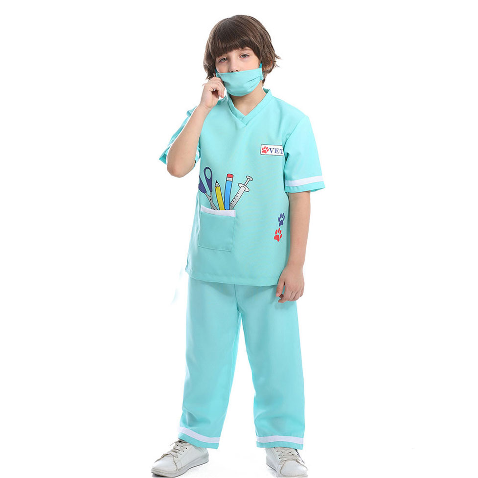 Umorden Blue Child Pet Vet Doctor Costume for Boys Purim Carnival Party Halloween Veterinarian Costumes