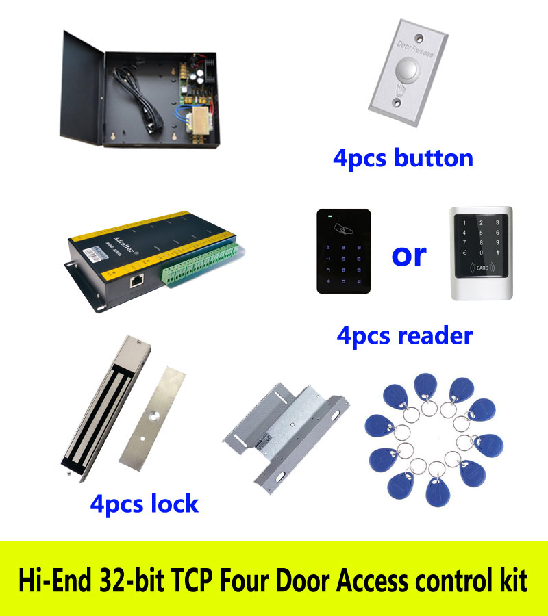 Hi-end access control kit,TCP four door+power+280kg magnetic lock+ZL-bracket+ID touch keypad reader+button+10 ID tag,kit-AT408 diysecur tcp ip usb fingerprint id card reader password keypad door access control system power supply 280kg magnetic lock