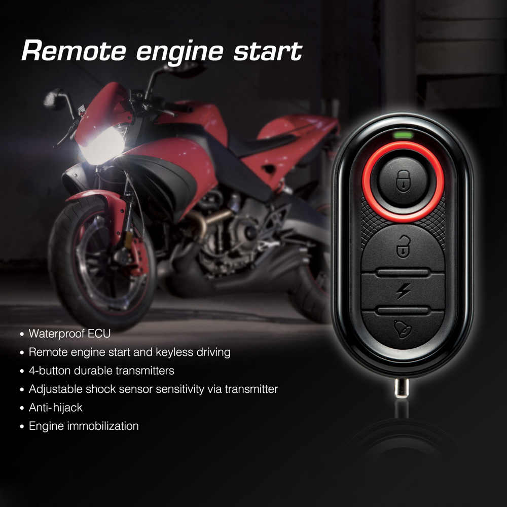 Original Steelmate 986E 1 Way Motorcycle Alarm Moto Remote Engine Start Alarm Moto Protection with Mini Transmitter for BULTACO