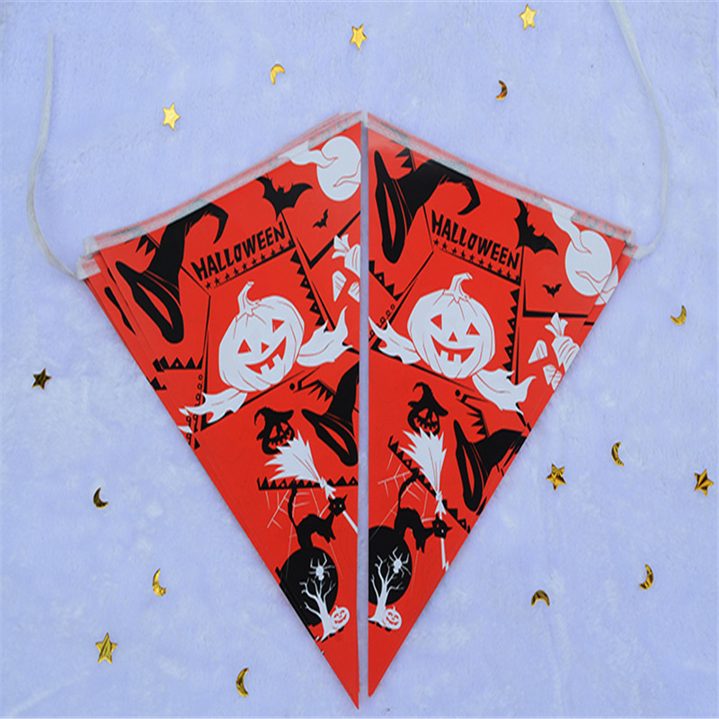 4YANG Halloween Shop Mall Decoration Bar Flag Square Flag Party Paper Layout Halloween Triangles String Flag