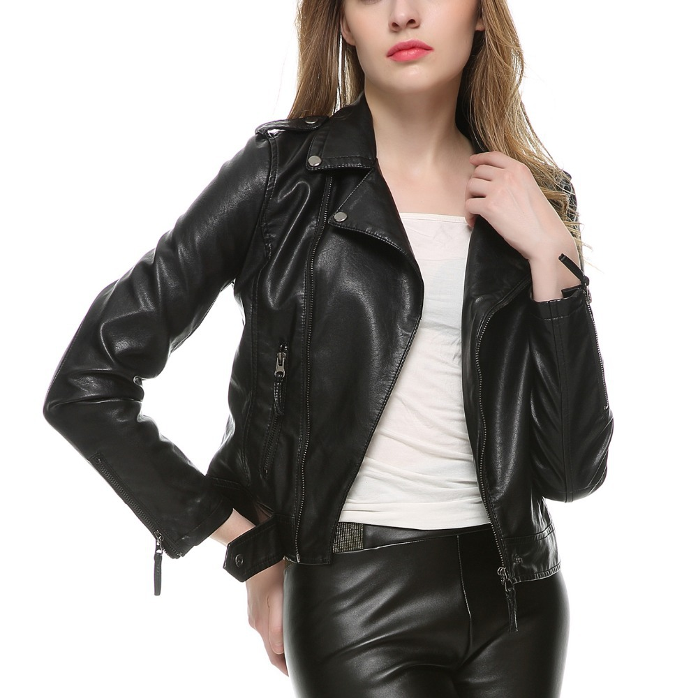 2018 New Fashion Women Soft Faux Leather Jackets and Coats Female ...