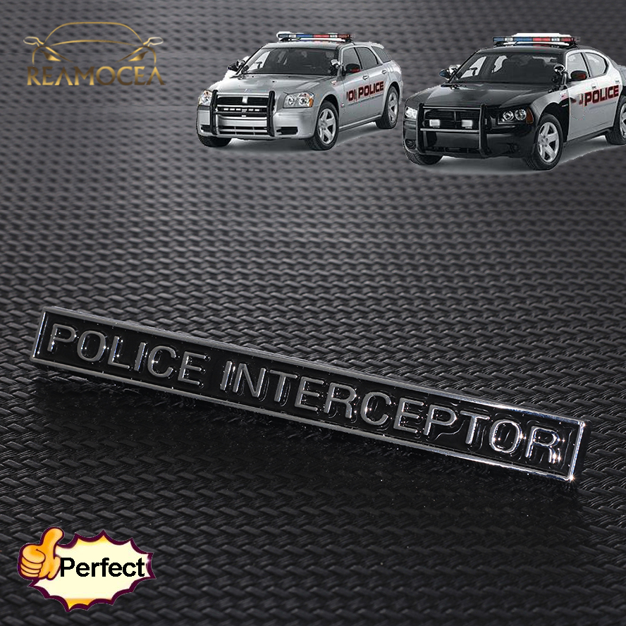 Reamocea 1Pc POLICE INTERCEPTOR ABS Emblem Badge Car Trunk Sticker Fit For Ford Series Car Styling