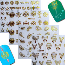 Nail Design Art Sticker Necklace Stars Decal for Sticker Decoration Back Glue Adhesive Gold Line DIY Stickers on Nails(China)