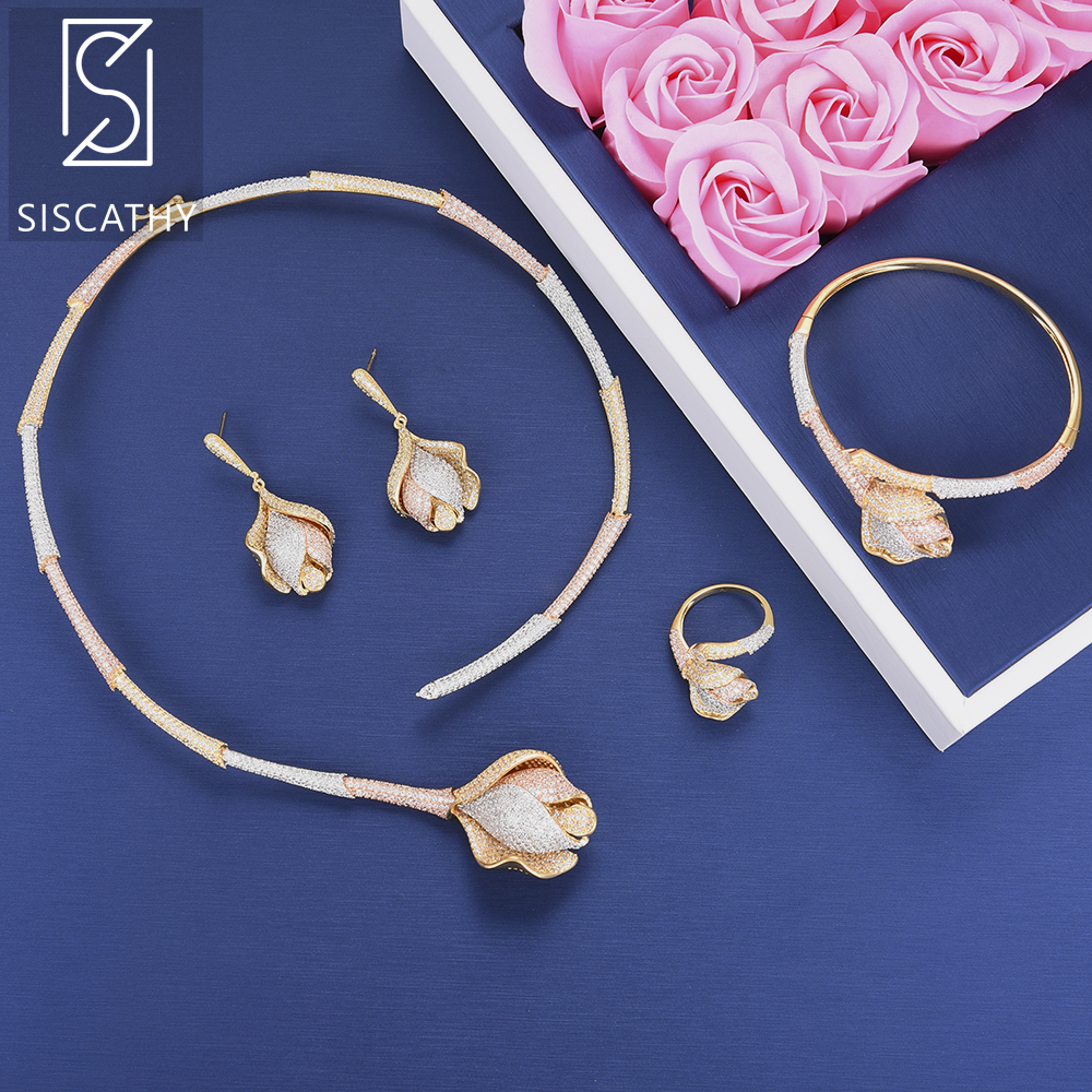 Siscathy Cubic Zirconia Flower Shape Necklace/Earrings/Ring/Bracelet Wedding Party Accessories Luxury 4Pcs Women Jewelry SetsSiscathy Cubic Zirconia Flower Shape Necklace/Earrings/Ring/Bracelet Wedding Party Accessories Luxury 4Pcs Women Jewelry Sets