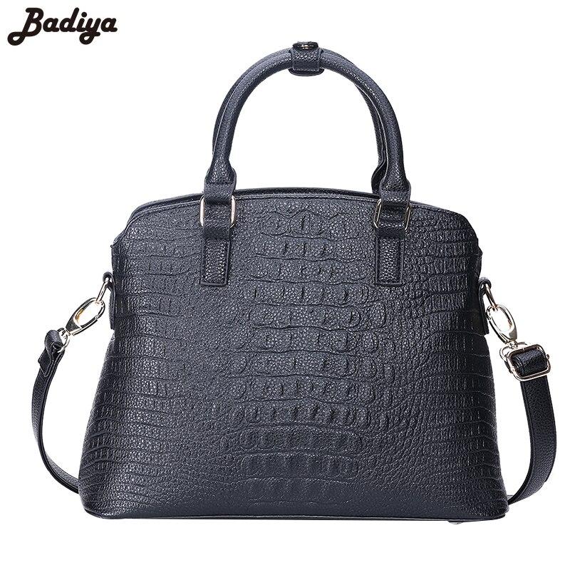 Badiya Alligator Fashion Women Composite Shoulder Bag font b Set b font PU Leather Elegant Messenger