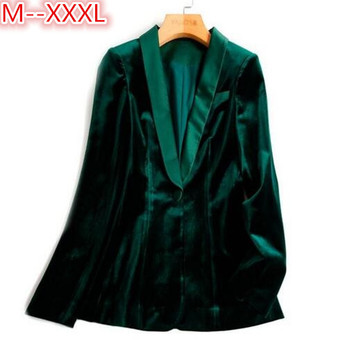 Green Velvet Blazer Women Autumn New 3XL Plus Size One Button Formal Slim Ladies Blazers 2017 Winter Office Suit Coat