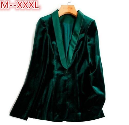Green Velvet Blazer Women Autumn New 3XL Plus Size One Button Formal Slim Ladies Blazers 2017