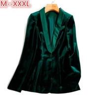 Green Velvet Blazer Women Autumn New 3XL Plus Size One Button Formal Slim Ladies Blazers 2017 Winter Office Suit Coat