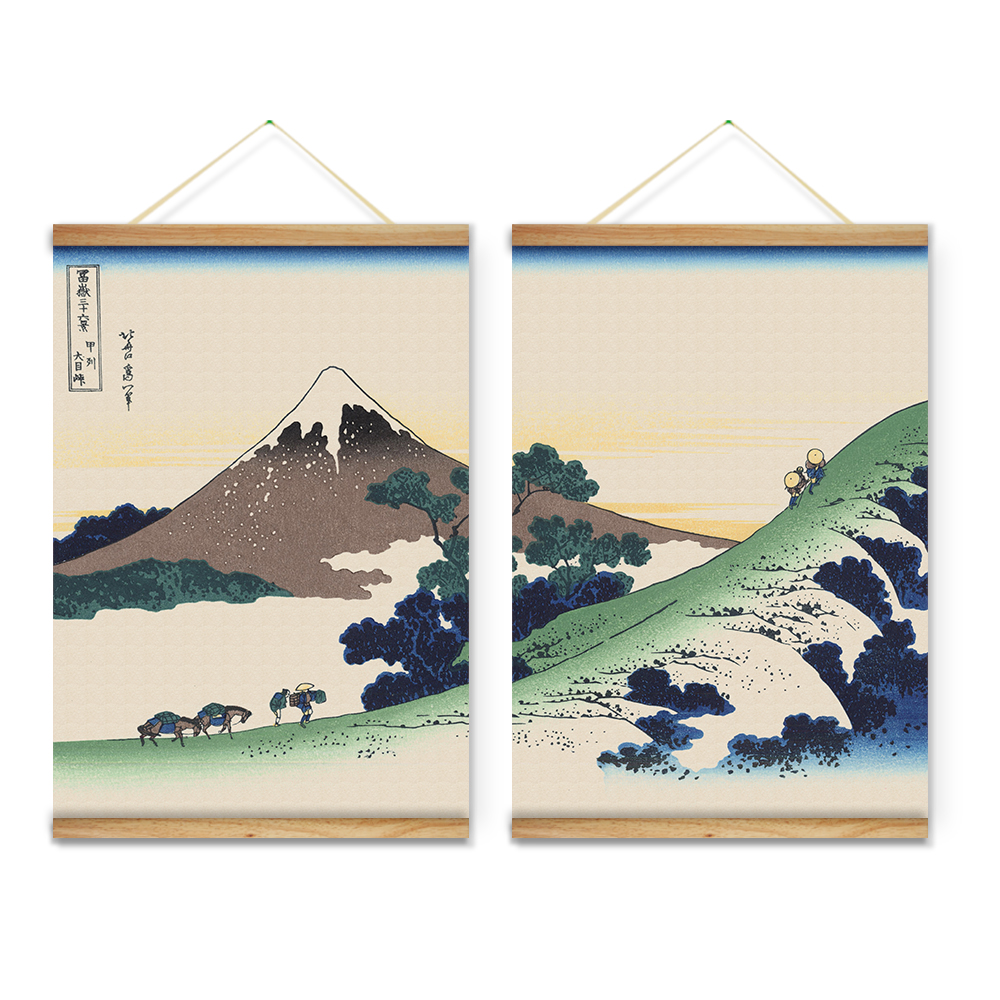 Wooden Scroll Wall Art 2 Pieces Japanese Style Mountain Landscape Decoration Wall Art