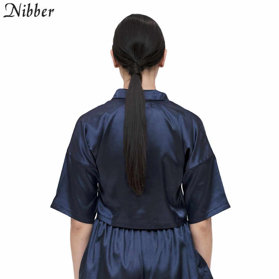 Nibber קיץ מוצק קצר שרוול שיפון חולצות נשים חולצות 2019 אופנה בית ללבוש לבן בסיסי מזדמן רחוב teeshirts mujer