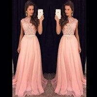 Bridemaid платье Vestido Longo; пикантные SHO me Новинка 2017 дешевые розовые кружевные нарядные платья Наряды на свадебную вечеринку Vestido реальные фотогр