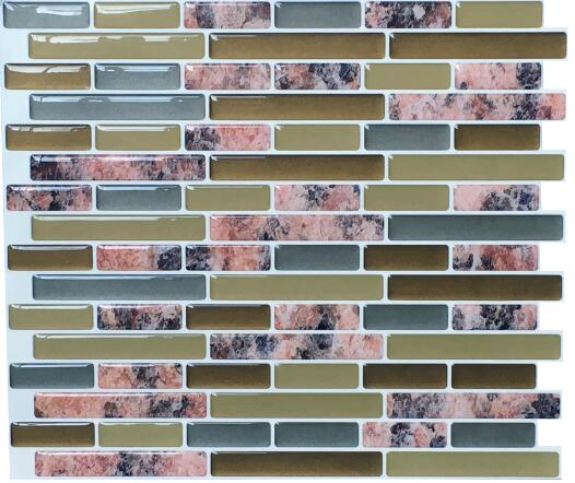 Backsplash Tile for Kitchen Marble Peel and Stick Tile Adhesive Vinyl Wall Tiles Urban Oblong 9.3