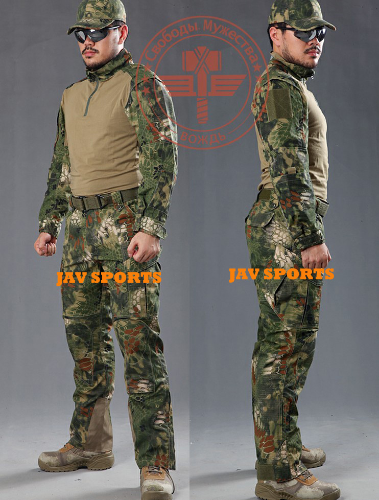 Chiefs Rattlesnake Pro. BDU combat shirt & tactical pants in jungle camouflage hunting clothes+Free shipping(SKU12050308) fishing hunting camo hidden tactical pants trousers biomimicry jungle amouflage pants leaves wearable durable camouflage pants