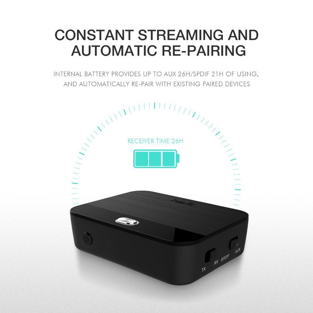 HAVIT 3.5mm Bluetooth adaptateur Audio émetteur récepteur 2-in1 V4.1 sans fil Bluetooth Dongle aptX faible latence numérique HV-BT022 - 5