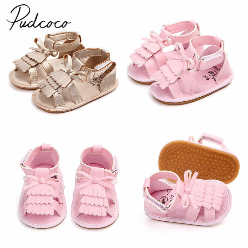 2018 Brand New Summer Toddler Baby Girls Boys Casual Shoes Sandal Shoes 0-18M Solid Bow Hook Flat With Heel Shoes Baby Shoes