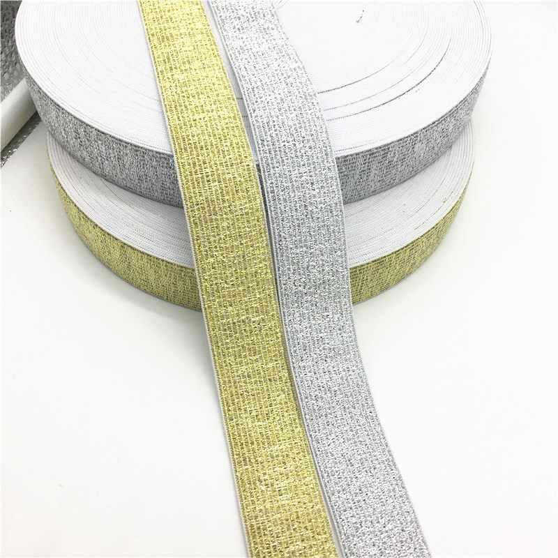 1 M Oro Argento di Alta Elastici 3-60mm Nero Bianco di Gomma Linea di Banda Spandex Nastro Del Nastro di Cucito Trim fascia della vita Accessorio Dell'indumento