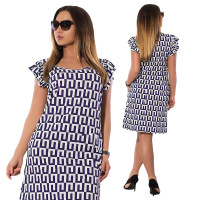 Summer Butterfly Sleeve Printed Dresses Large Size Lady Office Big Size Dress Casual Chiffon Work Dress