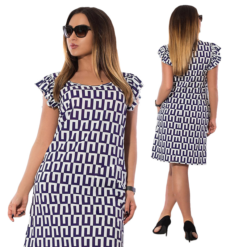 Summer Butterfly Sleeve Printed Dresses Large Size Lady Office Big Size Dress Casual  Work Chiffon Dress Vestidos Plus Size