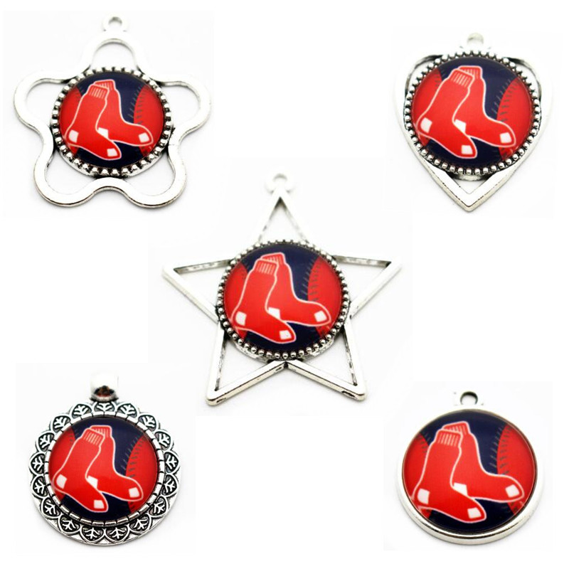 New Style 10pcs/lot 5 Designs Glass Pendant Baseball Boston Red Sox Dangle Charms For Sports Necklace Bracelet DIY Jewelry