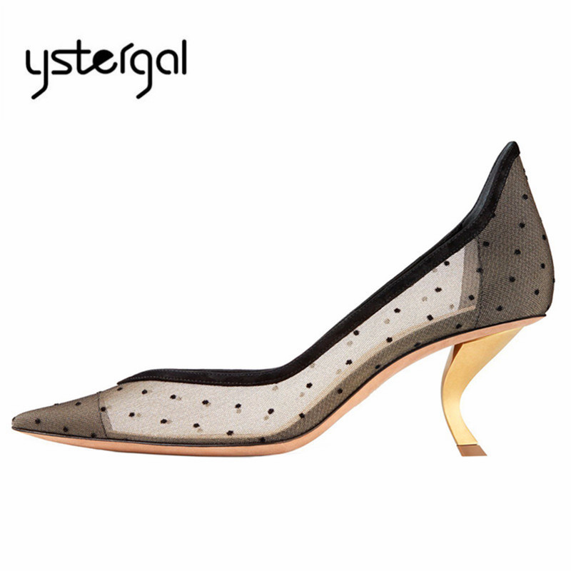 Ystergal Strange Heel Women Pumps Pointed Toe Mesh Wedding Dress Shoes Sexy 6CM High Heels Stiletto