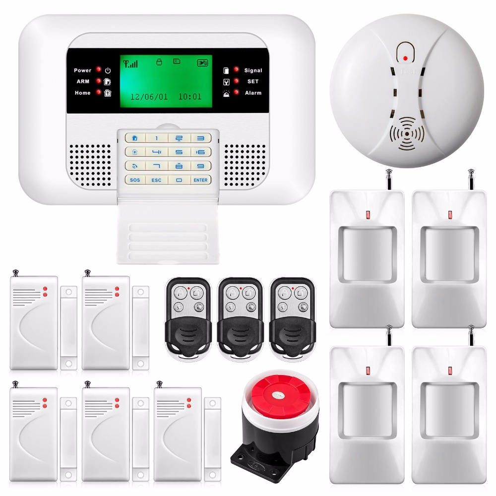 433MHz Metal Remote Control LCD Screen Keyboard Wireless GSM PSTN Dual Network Home Security Alarm System Smoke Detector