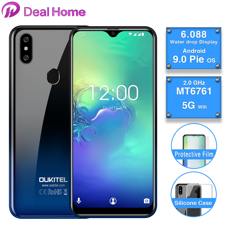"2019 New OUKITEL C15 Pro 6.088"" 19:9 WaterDrop HD-IPS Smartphone Android 9.0 MT6761 4G 2.4G/5G WIFI Face ID Fingerprint Phone"