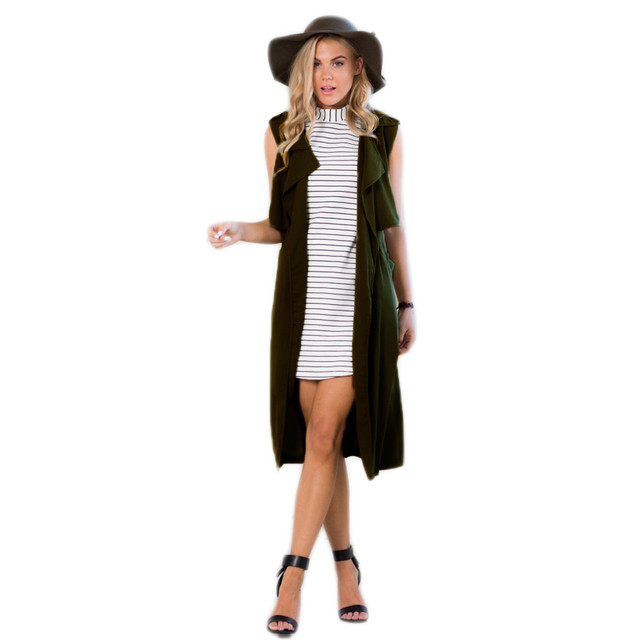 2015 European Fashion Style Women Ladies Trench Long Sleeveless Blazer Suit Vest Jacket Coat colete feminino Free Shipping